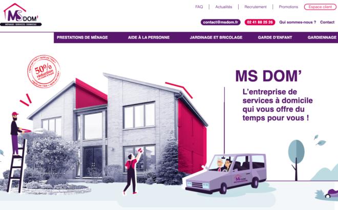 Nouveau site Internet de prestations de ménage à domicile à Angers : MS DOM'